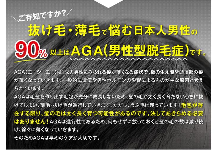 抜け毛・薄毛で悩む日本人男性の90%以上はAGA(男性型脱毛症)です。